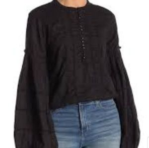 Free people high swells black bell sleeve blouse M